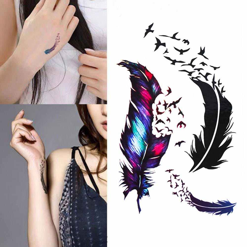 New Hot Waterproof Small Fresh Goose Feather Color Temporary Tattoos Stickers DIY Body Art Beauty Makeup Drop Free shipping