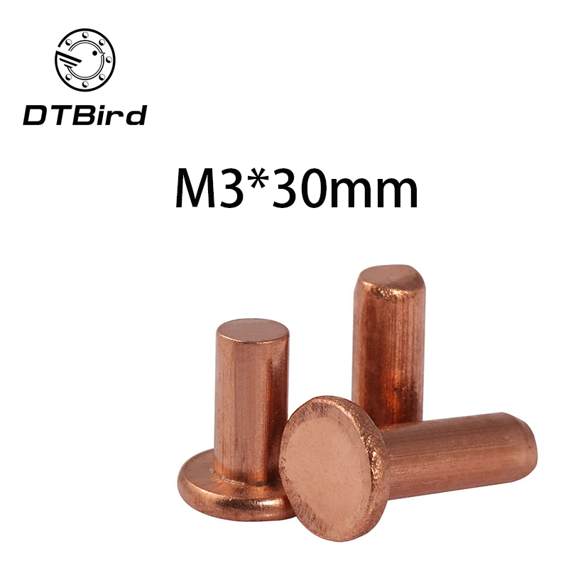 Free shipping 50pcs M3x30mm Length flat head copper rivets horizontal brass solid percussion GB109 2017 hot sale free shipping 50pcs mje15033g 50pcs mje15032g mje15033 mje15032 to 220
