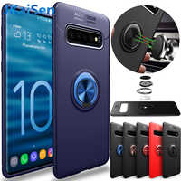 For Samsung Galaxy S10 S9 S8 S7 Plus Lite Note 8 9 A6 A7 A8 A9 Case Car Magnetic Suction Bracket Finger Ring Soft TPU Back Cover