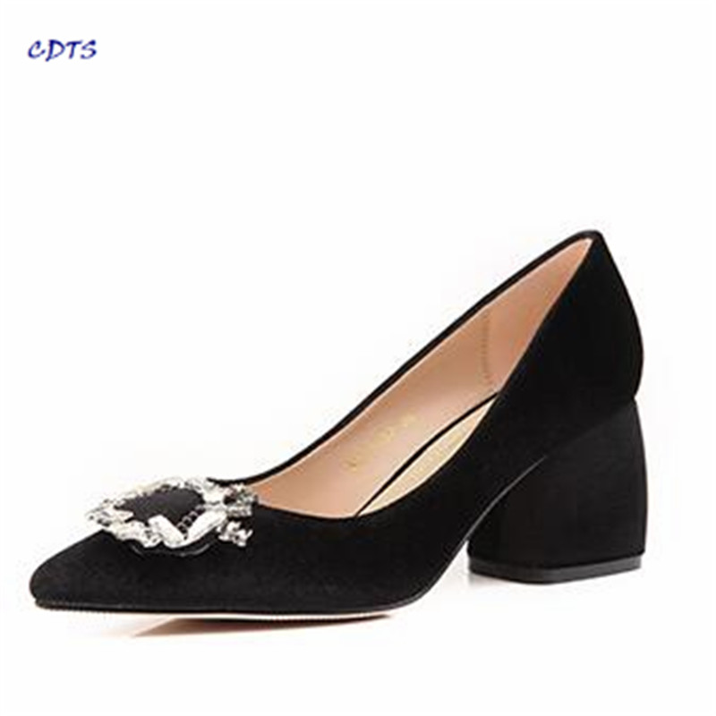 ФОТО CDTS zapatos Plus:34-43 spring/autumn velvet pointed toe rhinestone shoes side buckle women's thick high-heeled wedding pumps
