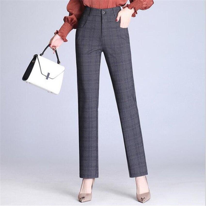 MLCRIYG Hohe taille füße casual größe pendler schlank lattice style Cargo pants