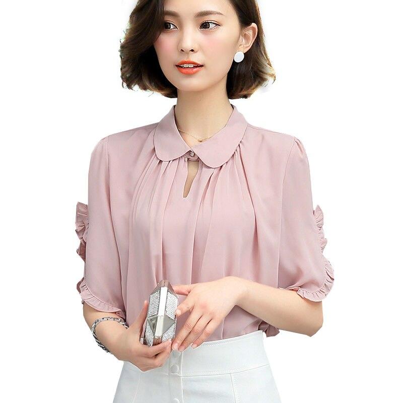 Women Chiffon Blouse Shirt Peter Pan Collar White Shirts Casual
