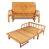 Multi functional Bamboo Folding Bed Sofa Bedroom Furniture Modern Double Bed Queen/King Size Space Saving Folding Furniture Bed