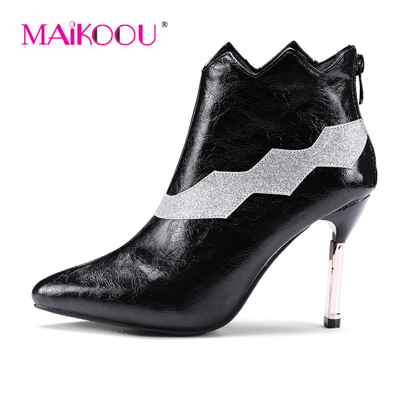 2017 new women business shoes European and American fashion personality fine with pointed boots PU leather women boots Ankle 2017 new european and american romantic pop black magazine cool shoes sexy fashion hollow women boots fashion summer boots
