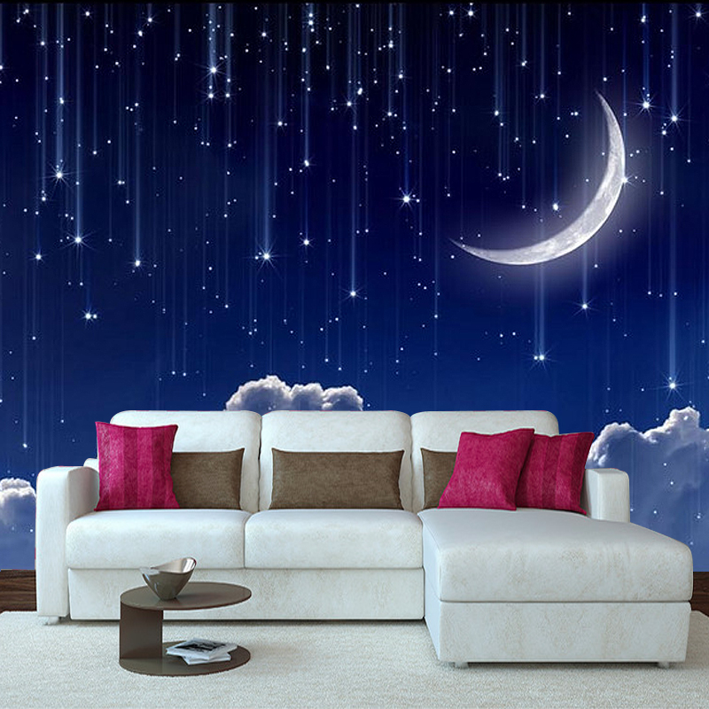 3d Wallpaper Mural Night Clouds Star Sky Wall Paper: Custom 3D Photo Wallpaper Murals 3D Fantasy Sky Moon