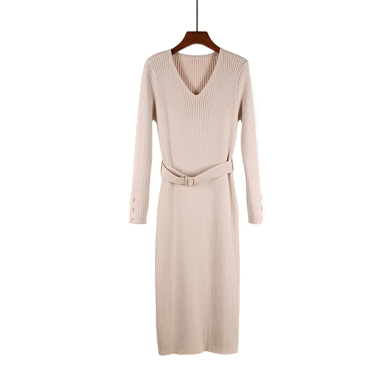 8898b4390e ... Women knitted sweater dress long sleeves split midi vestidos sash  v-neck bodycon elegant pencil ...