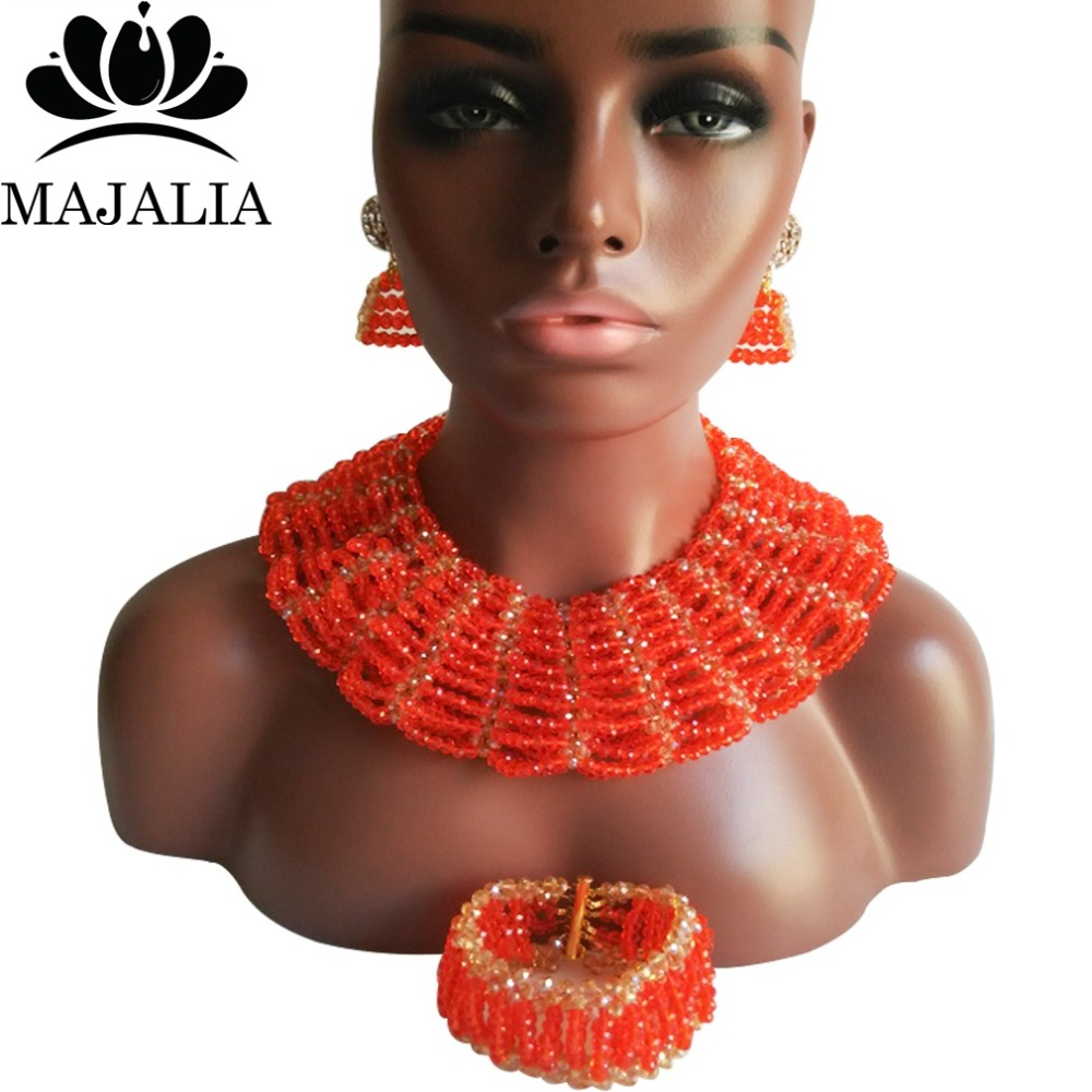 Majalia Classic Nigerian Wedding African Jewelry Set Orange and Gold ab Crystal Necklace Bride Jewelry Sets 10SX007Majalia Classic Nigerian Wedding African Jewelry Set Orange and Gold ab Crystal Necklace Bride Jewelry Sets 10SX007