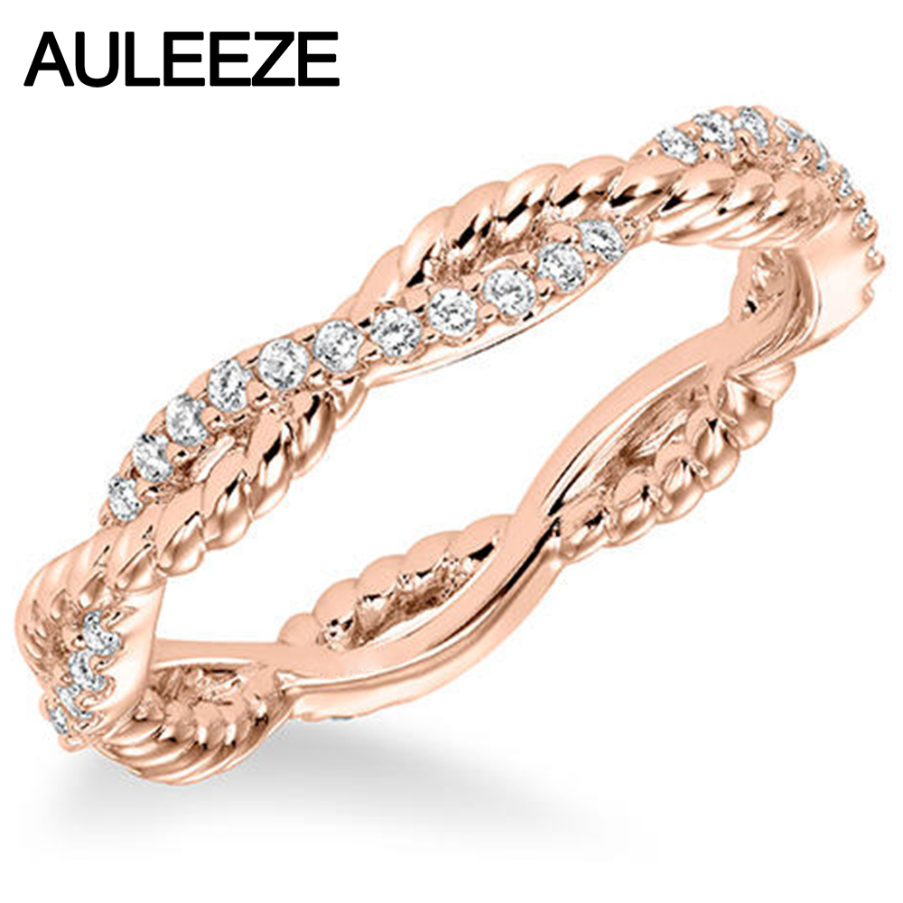 Solid 14K 585 Rose Gold Ring For Women Lady Elegant Engagement Ring Pave Natural Real Diamond Ring Twist Wedding Band solid gold heart ring band elegant women ring