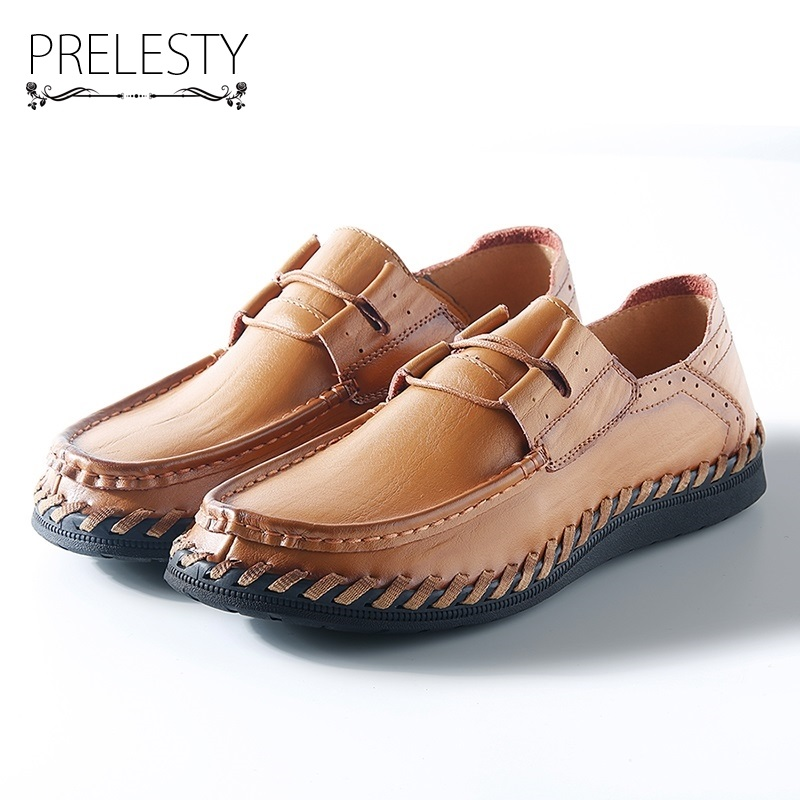 Prelesty Genuine Leather Casual Men Shoes Handmade Sew Treat Spring Summer Autumn Brown Loafers High Quality Brand Daily Work benzelor men shoes 2017 spring autumn genuine leather business casual shoes quality brand massage sole black brown color hl67624