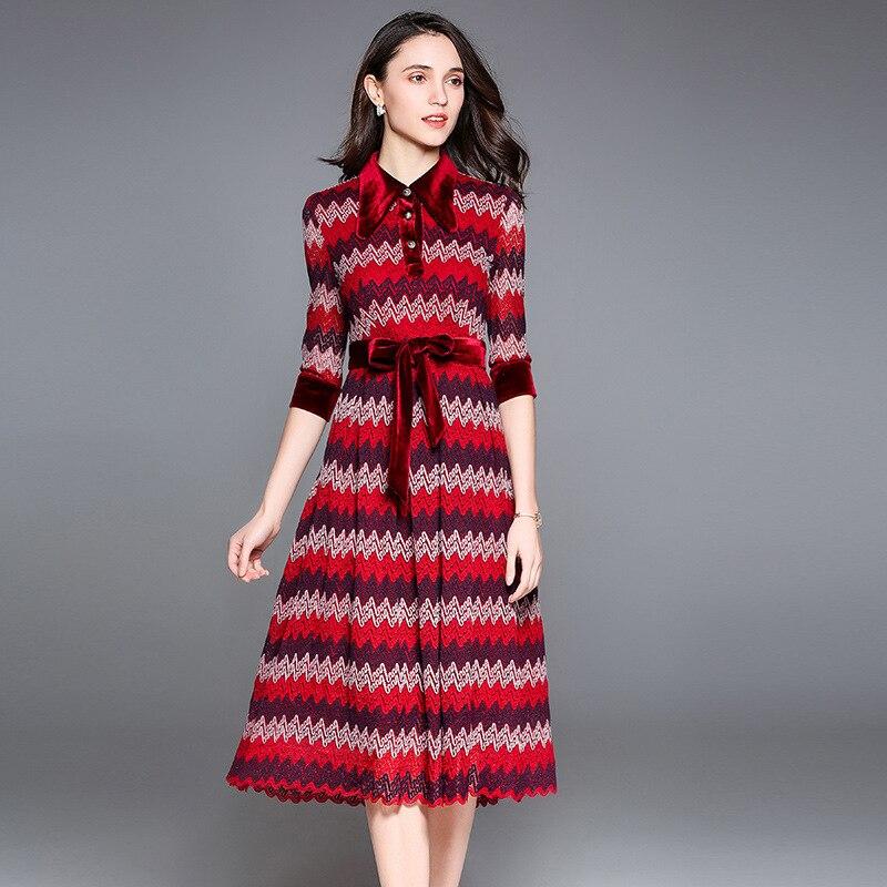 Dames red Vert Manches Femmes mollet Taille 2018 Haute New Robe Patchwork Dentelle Robes Mi Rouge Green Printemps Vintage Moitié Conception 1801111 XwPP6qRB