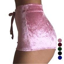 Invierno de Terciopelo Pantalones Cortos de Color Rosa Botín Bermuda Feminina Mini Sexy Spandex Pantalones Cortos Mujer Hot Skort Taille Haute XD742