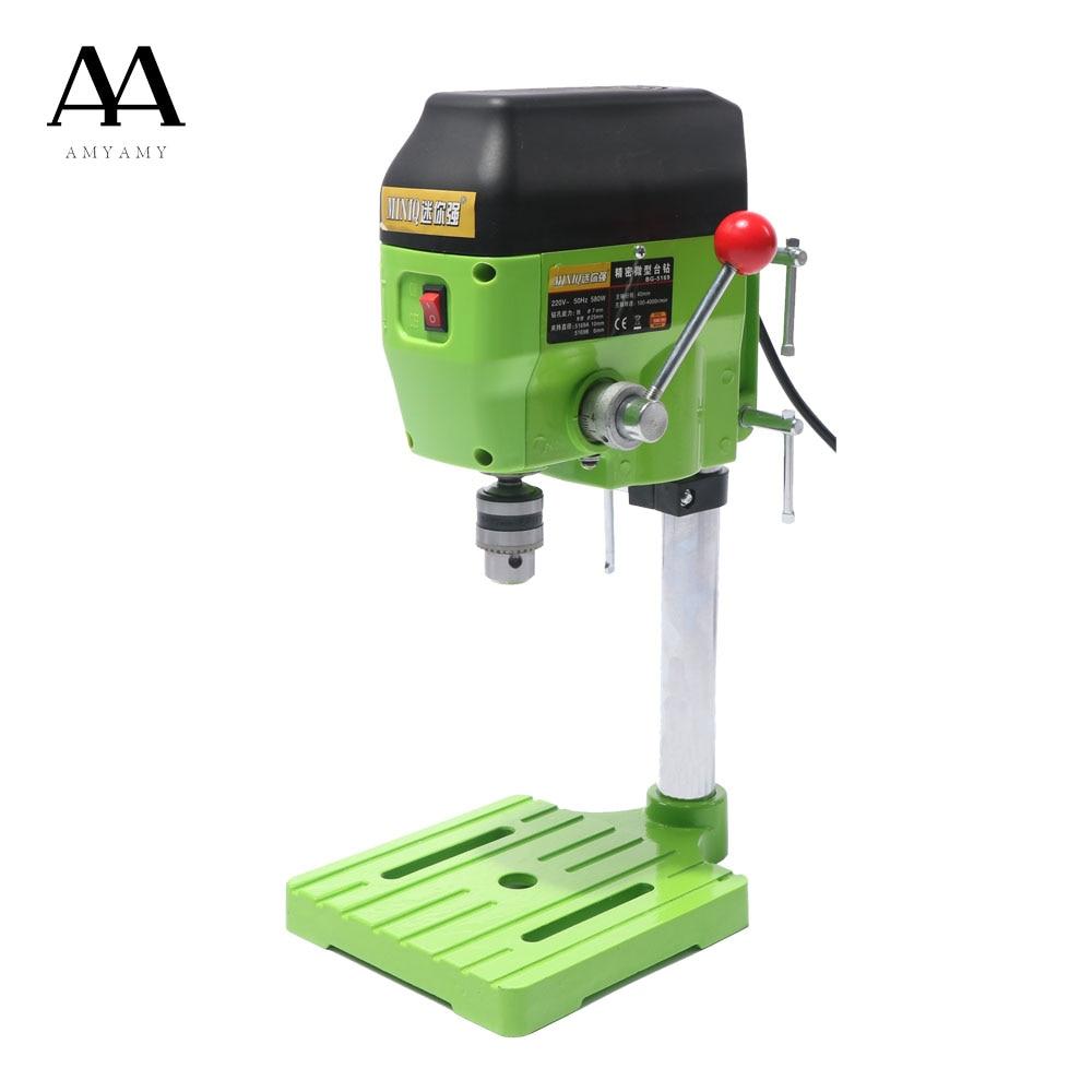 AMYAMY Mini drill machine Drill Press Bench Small Drilling Machine Work Bench EU plug 580W 220V