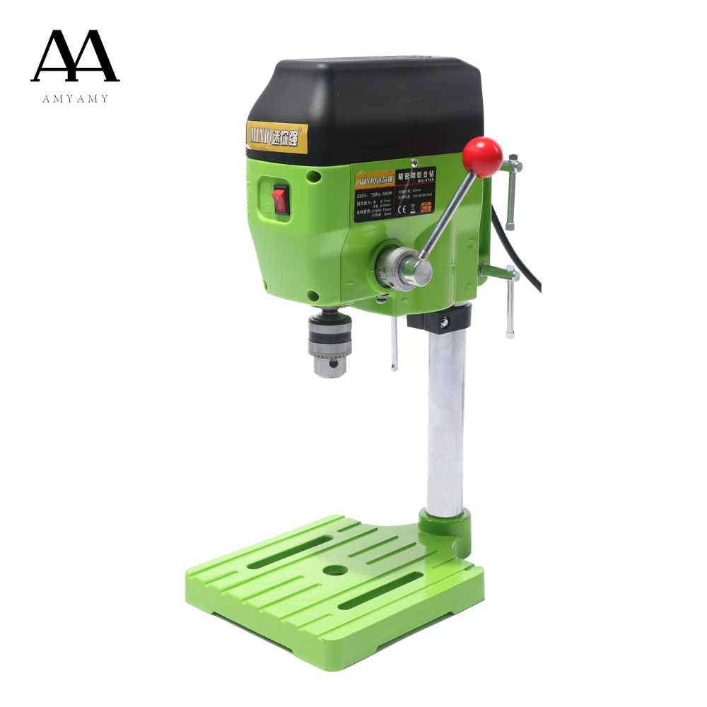 AMYAMY  Mini Drill Press Bench Small Drill Machine Work Bench EU plug 580W 220V 5169A 8 drill machine press quill feed return coil spring assembly 41mm