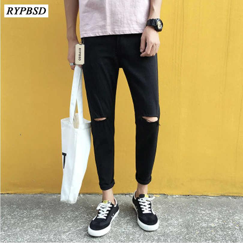 eb75e669684 ... New 2019 Fashion Korean Slim Black Jeans Men Pants Hole Pencil Pants  Mens Ripped Biker Jeans ...