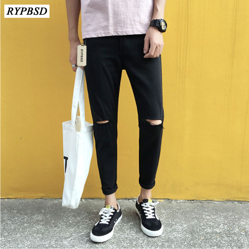 New 2019 Mens Black Jeans Korean Fashion Slim Fit Casual Ripped Skinny Jeans Man Black Hole Pencil Pants Hip Hop Trousers