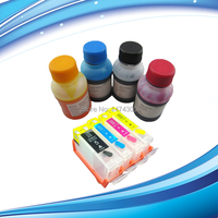XIMO 4 Color Edible Refill Ink kit for Canon 4C printer, 4*100ML bottled with 1 set of empty refillable cartridge