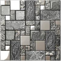 Черный серый деревенский выбивает смолы 3D Art щитка стикер стены, дома Кухня Ванная комната плитки Серебристый Матовый металлический обои,
