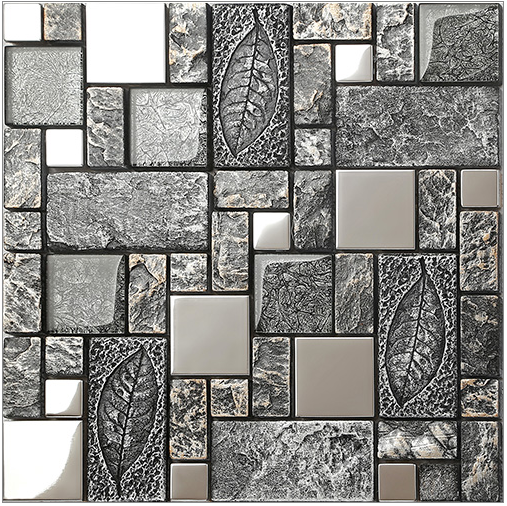 Black grey rustic emboss resin 3d art backsplash wall for Black 3d tiles wallpaper