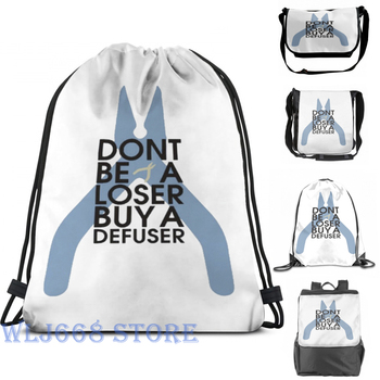 Funny graphic print shoulder Bags women Counter strike Don't be a loser buy a defuser Single shoulder backpack travel men