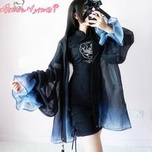 Японский стиль Харадзюку Кимоно Кардиган Блузка летний женский винтажный шифоновый длинный кардиган с принтом Верхняя одежда рубашка Лолита