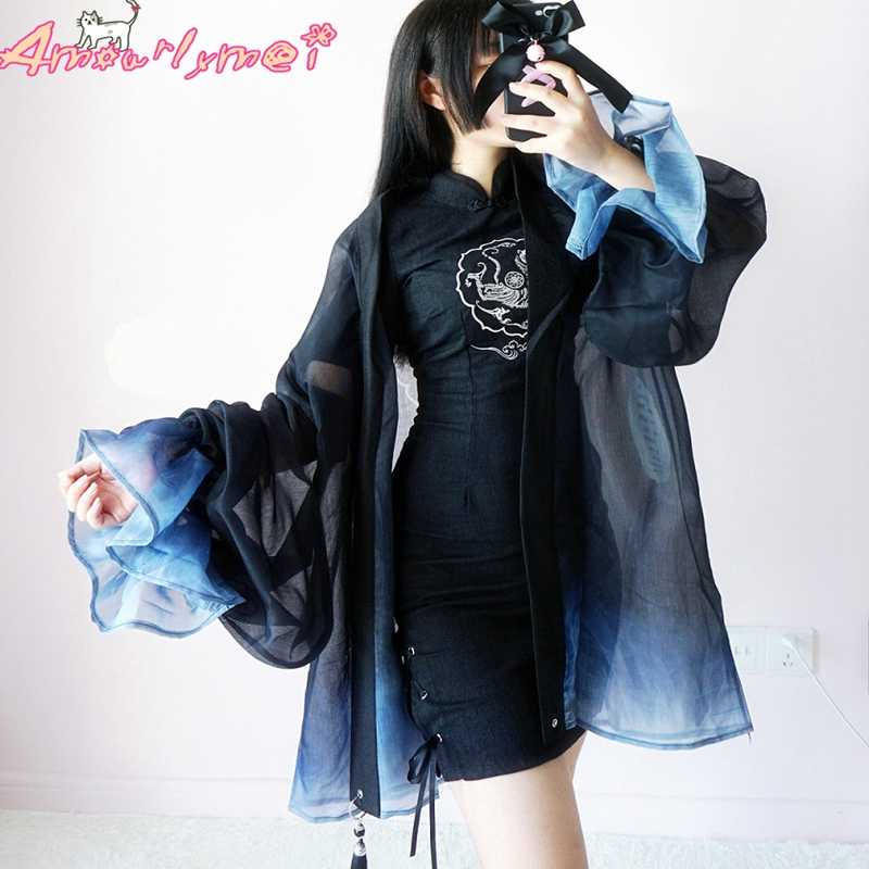 Estilo japonés Harajuku Kimono Cardigan blusa nuevo verano Mujer Vintage impreso cárdigan chal largo de chifón prendas de vestir camisa Lolita