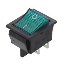 цена на Green Light 4 Pin DPST ON/OFF Snap in Rocker Switch 15A 30A 250V AC 28x21mm