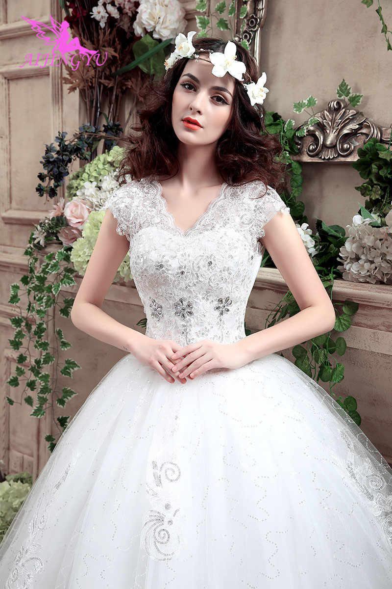 AIJINGYU 2018 יפה משלוח חינם חדש מכירה לוהטת זול כדור שמלת תחרה עד בחזרה פורמליות הכלה שמלות כלה שמלת WK316