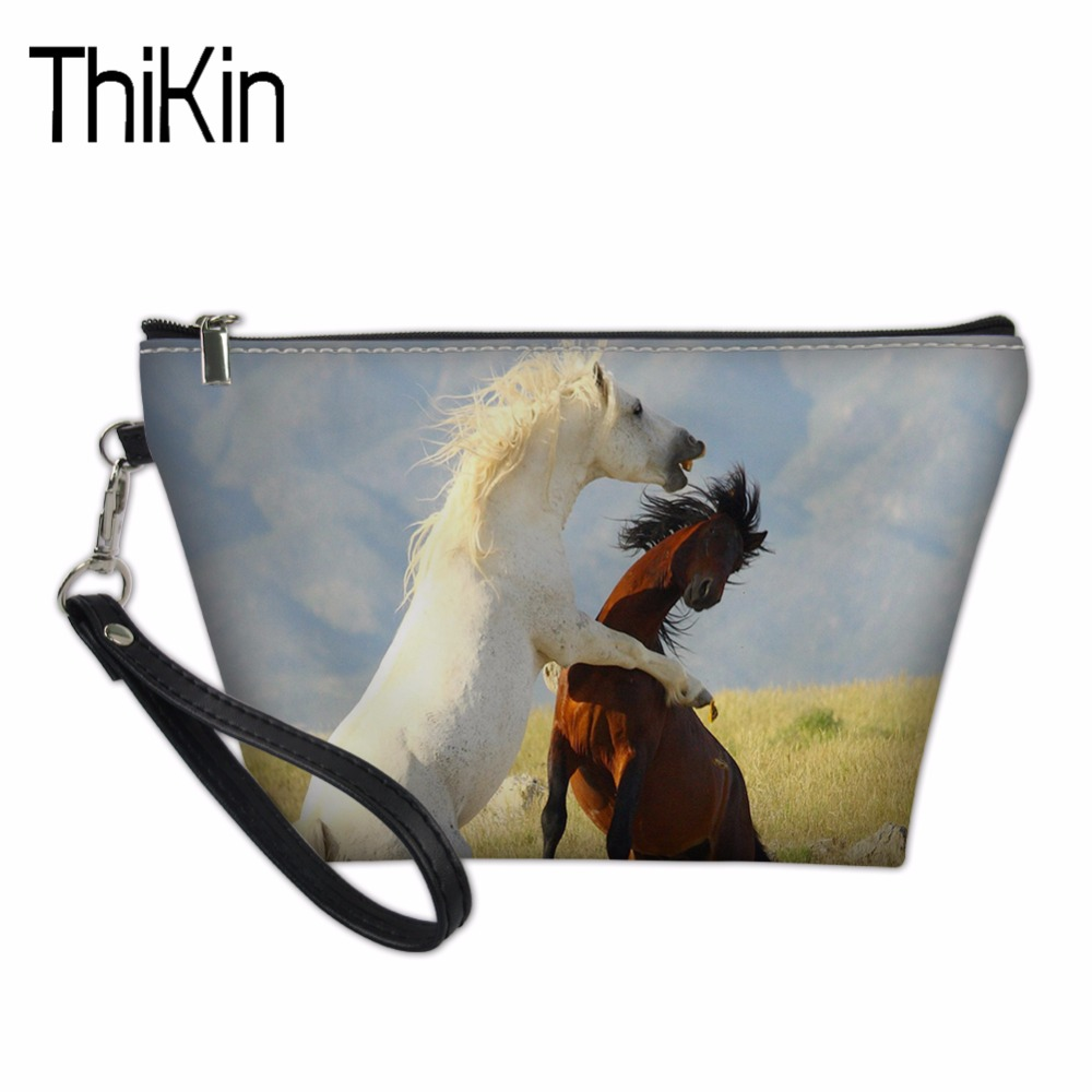 THIKIN Cosmetic Bags & Cases Necessaire Makeup Functional Bag Travel Organize Make Up Pouch Horse Prints Toiletry Bag for Women