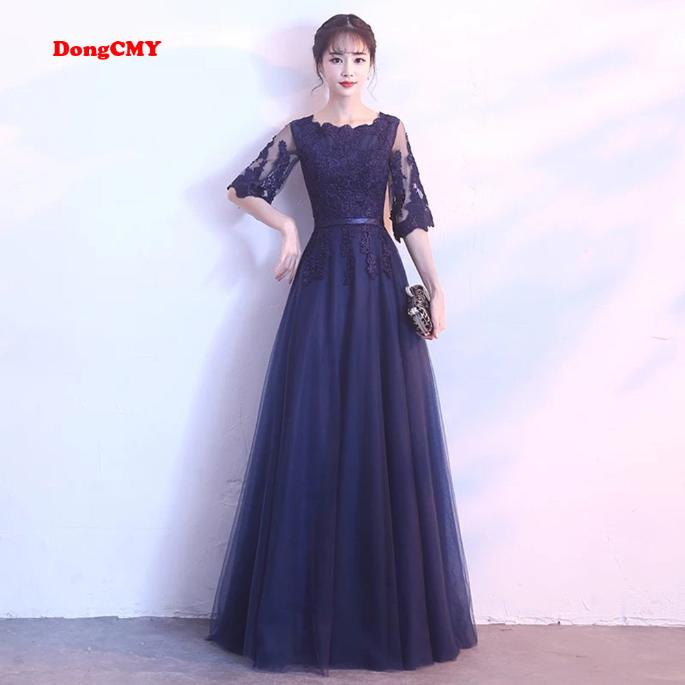 DongCMY New Arrival Evening Dress Bandage Lace Embroidery Luxury Satin Short Sleeved Long Elegant Robe De Soiree Gown