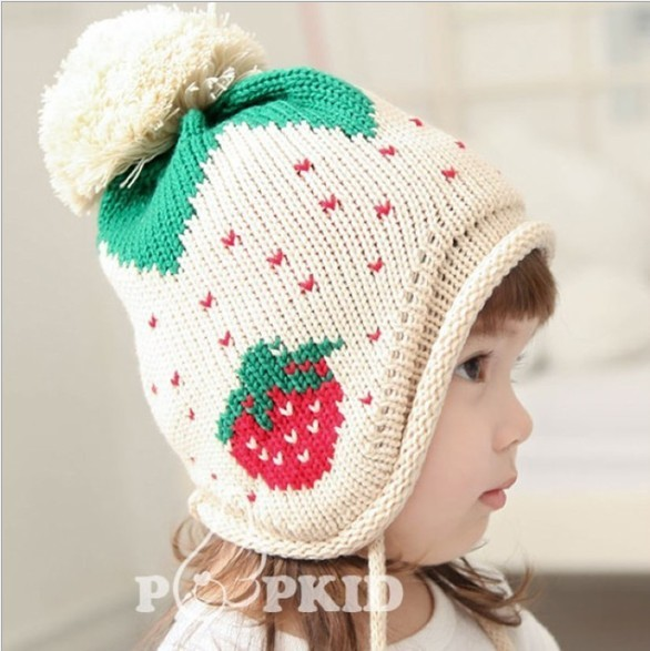 New arrival hot sale Lovely Children Girls strawberry dots Knitted caps hat beanie beret earflaps 40pcs/lot EMS DHL Free ship