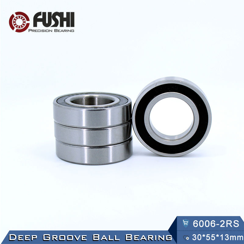 6006RS Bearing ABEC-3 (2 PCS) 30*55*13 mm Deep Groove 6006-2RS Ball Bearings 6006RZ 180106 RZ RS 6006 2RS EMQ Quality 6306rs bearing abec 3 1 pcs 30 72 19 mm deep groove 6306 2rs ball bearings 6306rz 180306 rz rs 6306 2rs emq quality