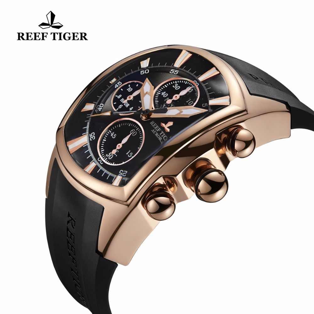 2020 Reef Tiger/RT Sang Trọng Thể Thao Chống Thấm Nước Đồng Hồ Ngày Hoa Hồng Vàng Dây Đeo Cao Su Quân Sự Nam Đồng Hồ Đồng Hồ Relogio Masculino RGA3069-T