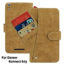 Vintage Leather Wallet Danew Konnect 605 6 Case Flip Luxury Card Slots Cover Magnet Stand Phone Protective Bags vintage leather wallet echo fusion 6 case flip luxury card slots cover magnet stand phone protective bags