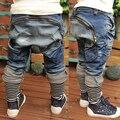 Marca crianças roupas jeans meninos zíper decoração calças jeans harém casuais calças de outono para 3-7a