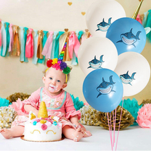 10/15Pcs Blue Baby Shark Birthday Balloons Animal Helium Latex Ballons Decoration Party Decorations Kids Air Balls