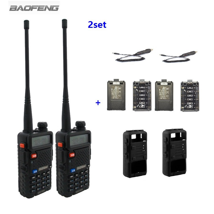 2pcs BAOFENG UV 5R Walkie Talkie Dual Band Two Way Radios 2pcs Battery Case 2pcs Car