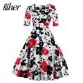 iiiher Brand Retro Vintage Women Dress Rockabilly Party Floral Print Swing Summer Dresses Elegant Tunic Vestidos