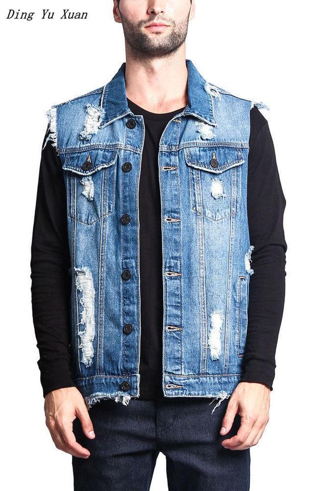 Black Denim Jeans Waistcoat Vest Gilet Biker Motorcycle Casual Lightweight