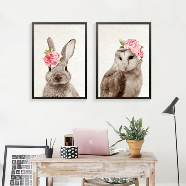 kawaii animals with flowers rabbit cat art prints poster nursery wall picture canvas painting kids room