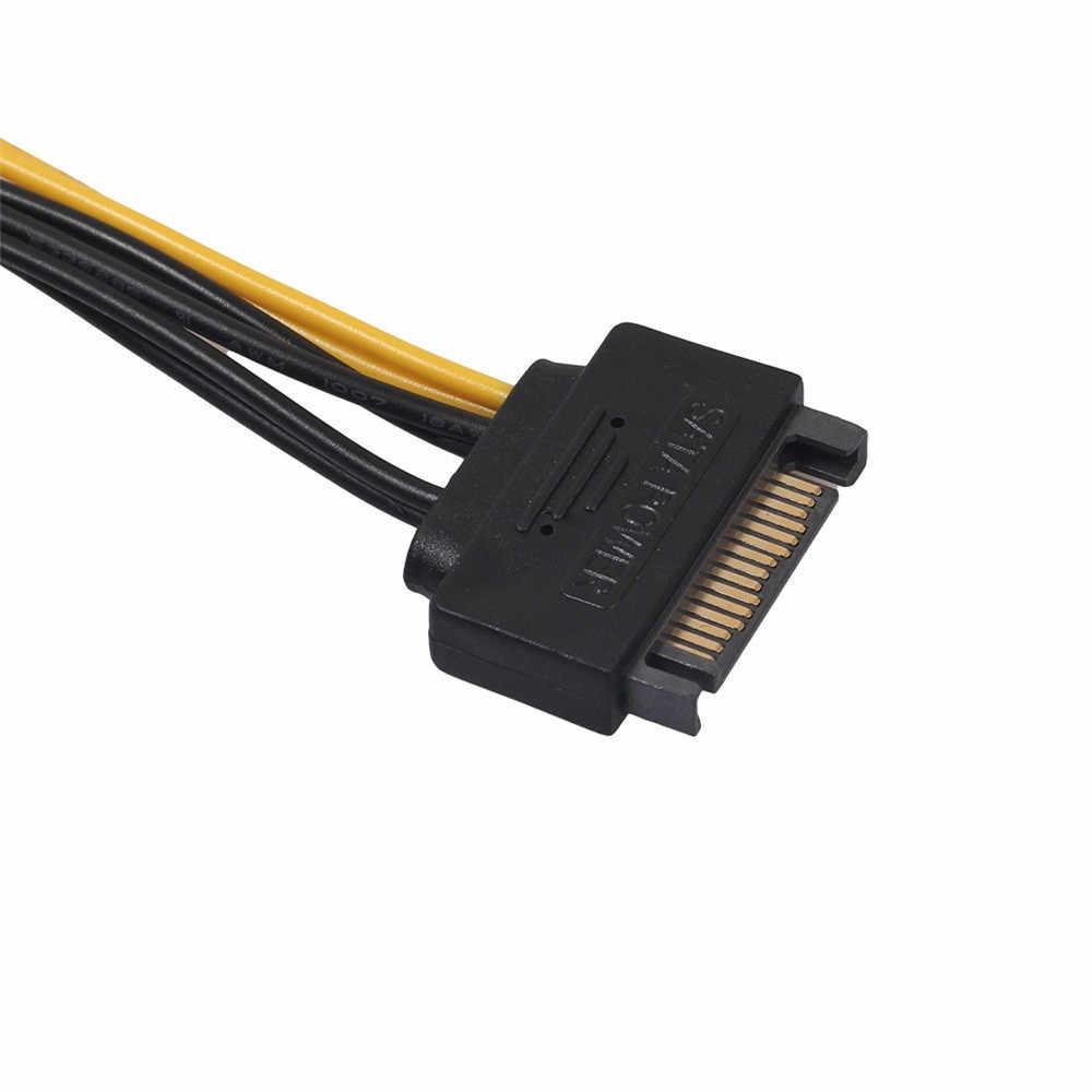 Yeni 15pin SATA Erkek 8pin (6 + 2) PCI-E Güç uzatma kablosu 20cm SATA Kablo 15-pin 8 pin kablo 18AWG Tel Grafik Kartı için q70