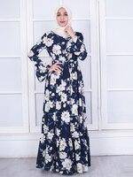 Arab Women Long Dresses Muslim Female Crepe Floral Dresses