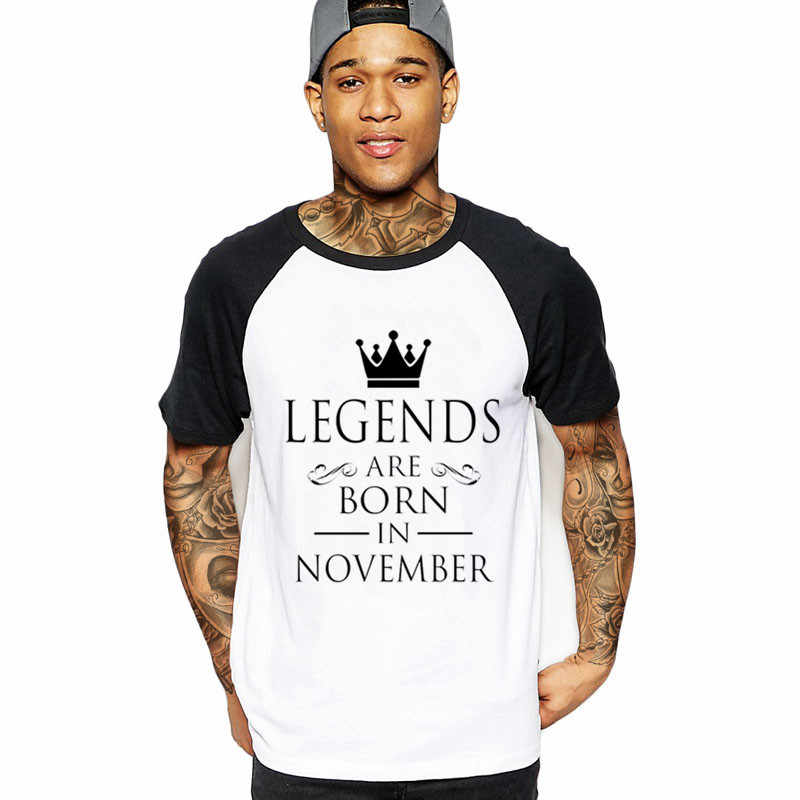 9bcbb271b 2019 streetwear LEGENDS ARE BORN IN NOVEMBER Men's T-Shirt military  father's day birthday gift