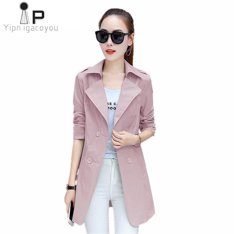Women Autumn   Trench   Coat 2019 Fashion Female Windbreaker Elegant Long Sleeve   Trench   Coats Office Lady Khaki Slim Overcoats 3XL