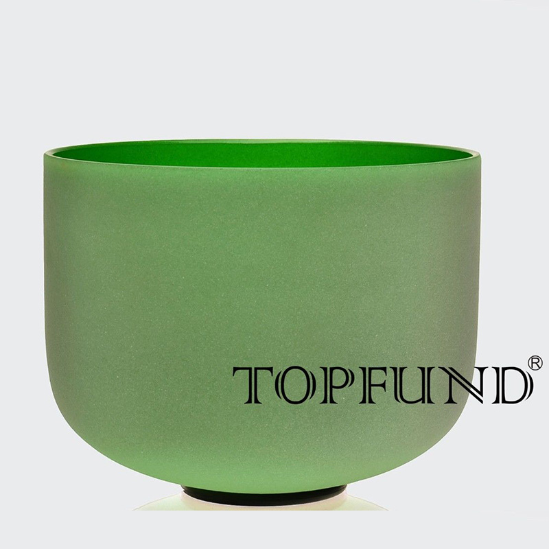 TOPFUND Green Colored Frosted Quartz Crystal Singing Bowl F Heart Chakra 10 for meditation player - local shipping 10 and 12 2pcs chakra white frosted quartz crystal singing bowl 432hz