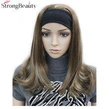 Сильный красота длинный синтетический волнистый монолитный парики половина Дамский 3/4 парик с головной повязкой