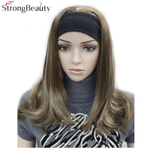 Starke Schönheit Lange Synthetische Wellenförmige Capless Perücken Halb Damen 3/4 Perücke Mit Stirnband Perücke