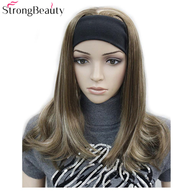 Strong Beauty Long Synthetic Wavy Capless Wigs Half Ladies' 3/4 Wig With Headband Wig