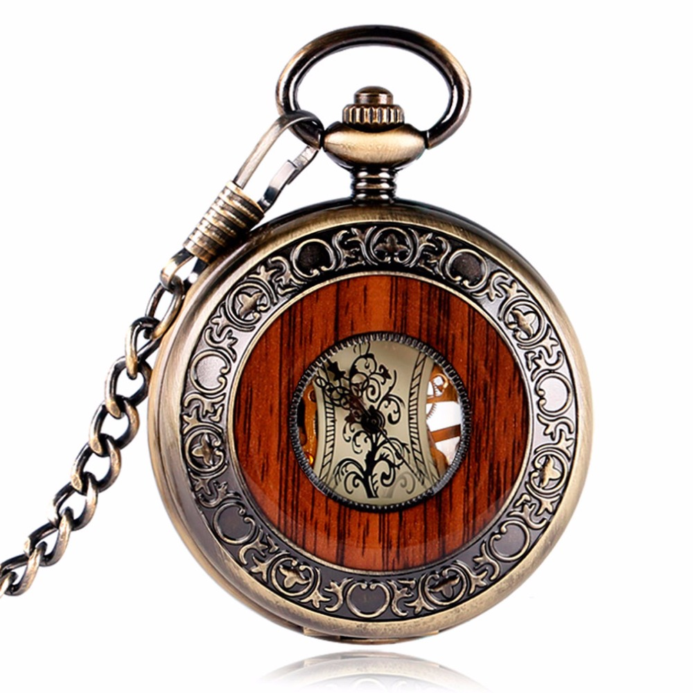 Steampunk Men Hollow Skeleton Mechanical Pocket Watch Vintage Wood Look Dial Antique Fob Chain Pendant Clock Men Women Gifts unique smooth case pocket watch mechanical automatic watches with pendant chain necklace men women gift relogio de bolso