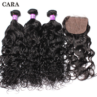 Water Wave Bundles With Closure Human Hair 4x4 Silk Base Closure Pre Plucked Add 3 Pcs Brazilian Remy Hair Extension CARA Hair