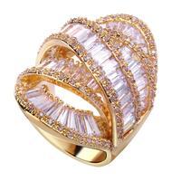Best Fashion Women CZ Diamond Ring Luxury Wedding Gift For Lover Bling Accessories Top Brand Design